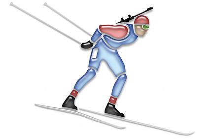 Zeichnung eines Biathleten