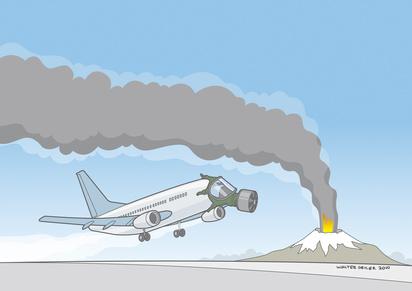 Aschewolke und Flugzeug