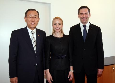 UNO-Generalsekretär Ban Ki-moon, Regierungsrätin Aurelia Frick und Regierungschef-Stellvertreter Martin Meyer